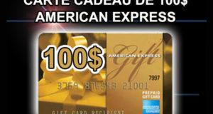 Carte cadeau American Express de 100 $
