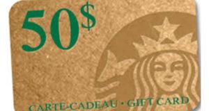 Carte cadeau Starbucks de 100$