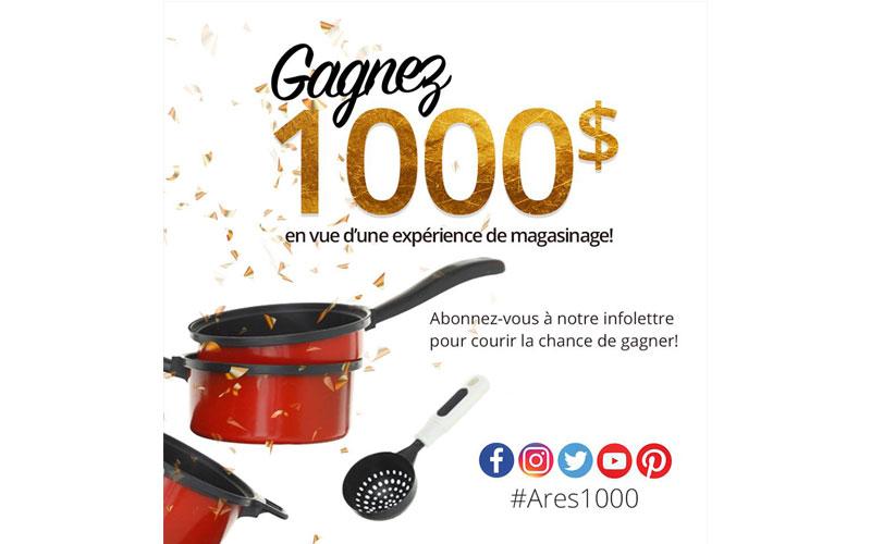 Carte cadeau ares cuisine de 1000 qu bec concours gratuits for Ares accessoire de cuisine