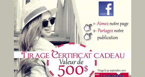 500$ en Certificat cadeau Le Lunetier Longueuil