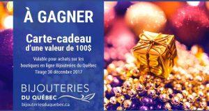 Carte-cadeau Bijouteries du Québec de 100$