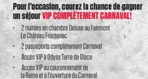 Séjour VIP pour 2 à Québec pour le Carnaval