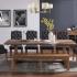 Table en bois, 6 chaises et une banquette
