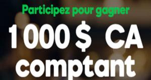 1 000 $ argent comptant
