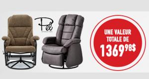 2 chaises berçantes pivotantes et inclinables de PEL