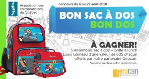 5 ensembles sac à dos et boîte à lunch Louis Garneau