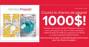 Carte-cadeau MasterCard Vanilla de 1000 $