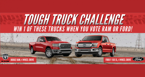 Gagnez un Pick-up à 4 roues motrices Ford ou Dodge (38 000 $)