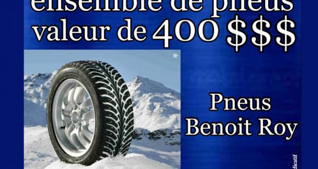 Un ensemble de pneus offert par Pneus Benoit Roy