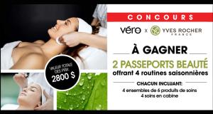 2 passeports beauté Yves Rocher de 1400$ chacun