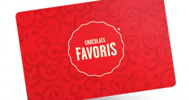 Carte-cadeau de Chocolats Favoris d'une valeur de 50$
