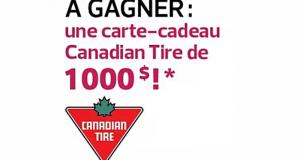 Une carte cadeau de 1000$ chez Canadian Tire