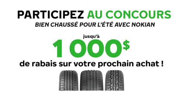 1000$ à l'achat de quatre pneus neufs Nokian Tyres