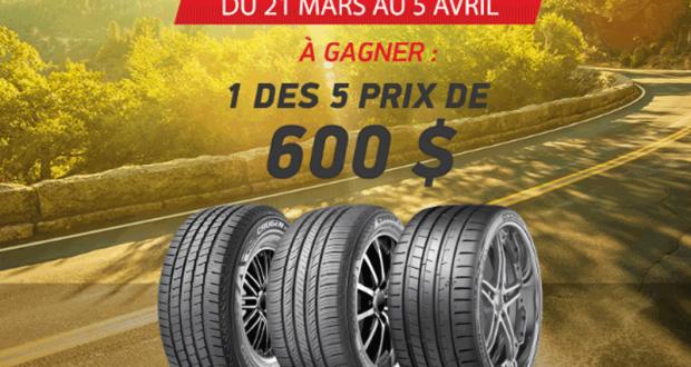 Gagnez l'un des 5 crédits de 600$ pour vos pneus d'été