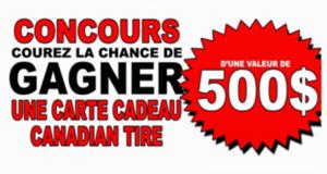4 chèques cadeaux Canadian Tire de 500$ chacun