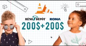 200 $ en vêtements Deux par Deux + 200 $ en produits RONA