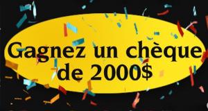 Un chèque d'une valeur de 2000$