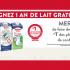 5 heureux gagnants de remporter 1 an de lait GRATUIT