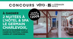 2 nuitées à l'Hôtel & Spa Le Germain Charlevoix (Valeur de 1200$)