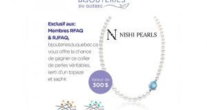 Collier de perles d'eau douces serti d'un topaze et de saphir