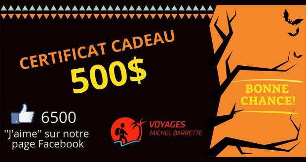 Un certificat-cadeau Voyages Michel Barrette de 500$