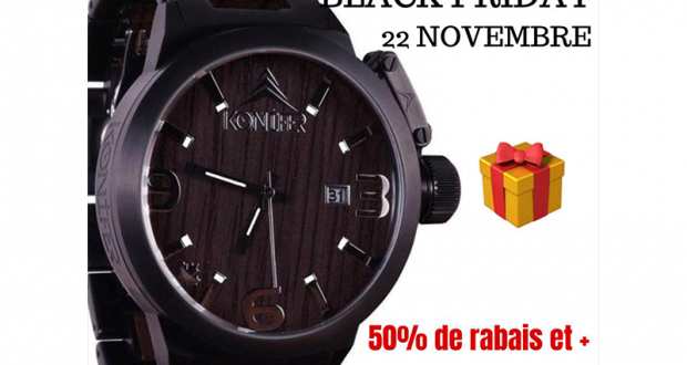 Une montre KONIFER KARBON BLACK ON BLACK