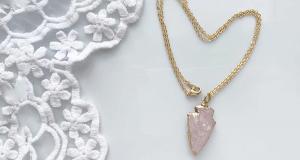 Chaîne en vermeil 16k et quartz rose