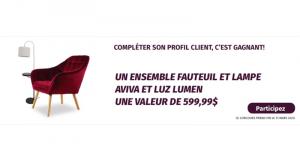 Un ensemble fauteuil et lampe d'une valeur de 600$