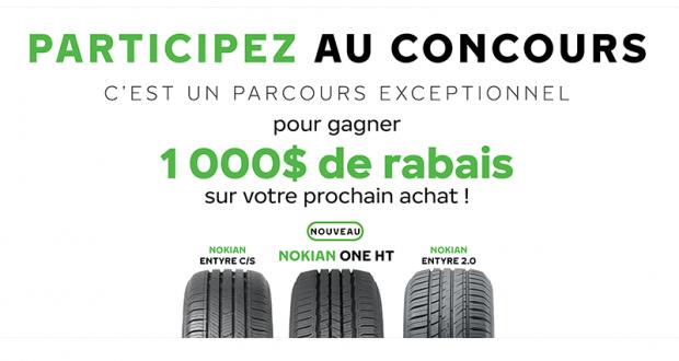 1000$ pour l'achat de pneus Nokian Tyres (3 gagnants)
