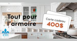 Gagnez une carte cadeau de 400$ de chez Tout pour l'Armoire