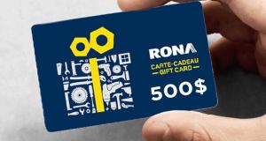 Gagnez 500 $ à dépenser chez Rona
