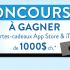 2 cartes-cadeaux app Store & Itunes de 1 000$ chacune