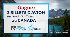 2 billets d'avion sur un vol d'Air Transat au Canada