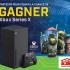 Une Xbox Series X et la collection complète de verres Halo Infinite