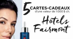 Gagnez 5 cartes-cadeaux Fairmont Hotels & Resorts de 1000 $ chacune